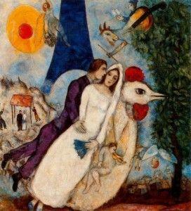 Gli sposi della Tour Eiffel (1938), Marc Chagall.