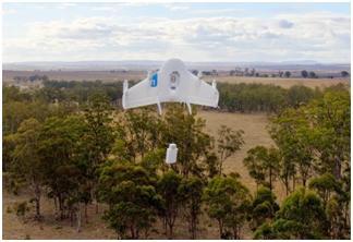 Drone di Google al lavoro.