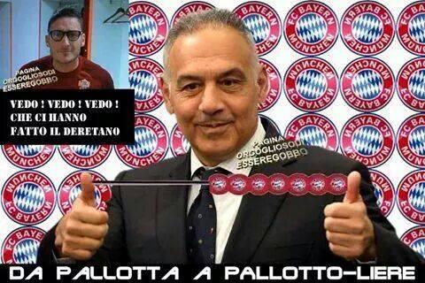 L'immagine fa riferimento al cognome del proprietario della Roma che da Pallotta diventa pallottoliere per tenere il conto dei tanti gol segnati dal Bayern Monaco.