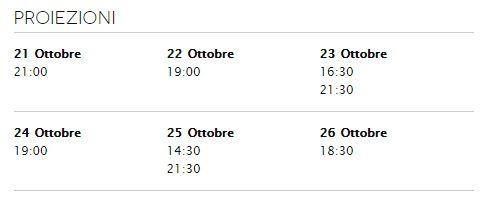 """Orari delle proiezioni del film """"Chagall-Malevich"""" presso lo Spazio Oberdan di Milano, dal 21 al 26 ottobre 2014."""