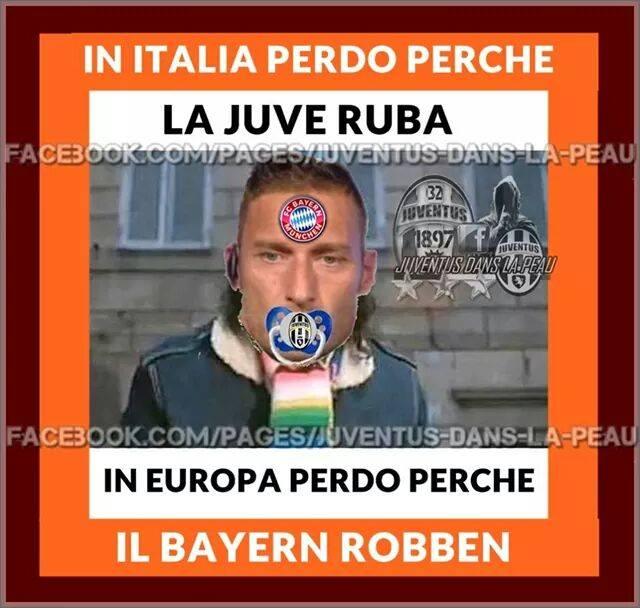"""Gioco di parole tra il verbo """"rubare"""" e il calciatore Robben del Bayern"""