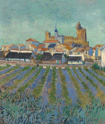 """Veduta di Saintes-Maries-de-la-Mer (1888), Vincent Van Gogh. """"Van Gogh. L'uomo e la terra"""" in mostra a Milano."""