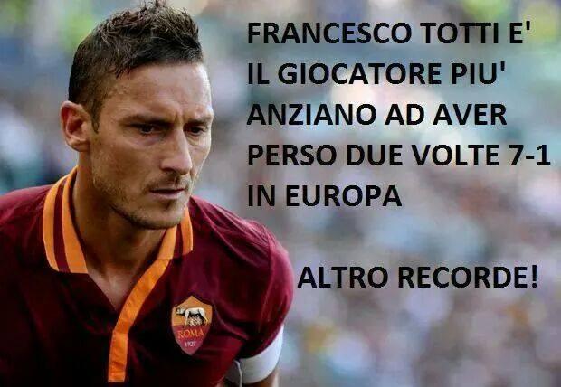 Dopo il record di marcatore più anziano della Champions, Francesco Totti ha battuto il record di aver subito due sconfitte per 7-1 contro Bayern e Manchester United