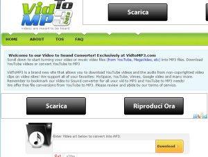 VidToMP3 - schermata iniziale