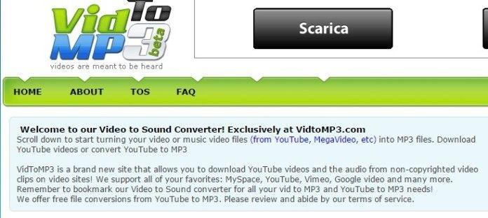 Come si scarica da youtube? Semplice, basta VidToMP3!