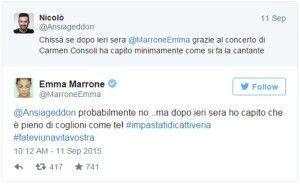Emma Marrone replica all'attacco di un utente Twitter