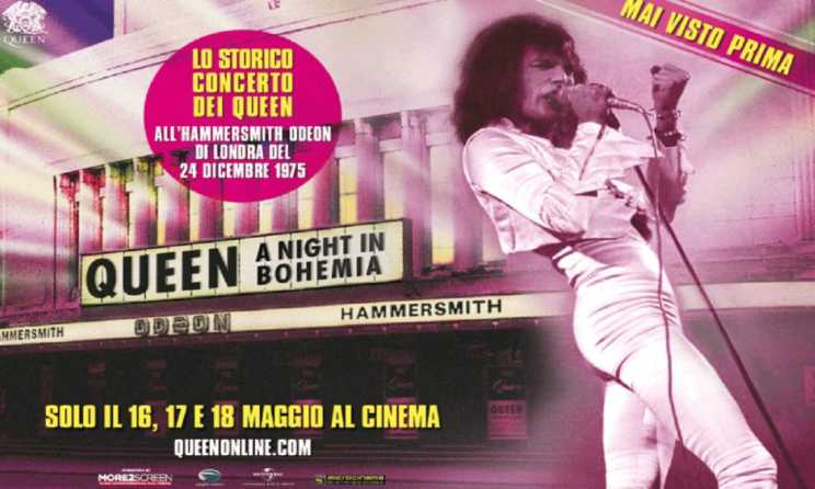 Il film dei Queen al cinema, per rivivere la magica notte del '75 all'Hammersmith Odeon di Londra