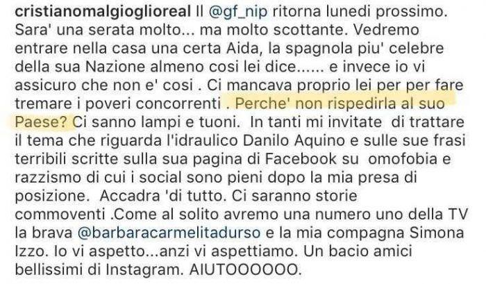"""Il web contro Cristiano Malgioglio: """"Anche tu sei un razzista!"""". Ecco cos'è successo"""