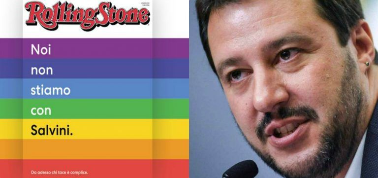 """La copertina del magazine Rolling Stone contro Matteo Salvini: """"Chi tace è con lui…"""""""
