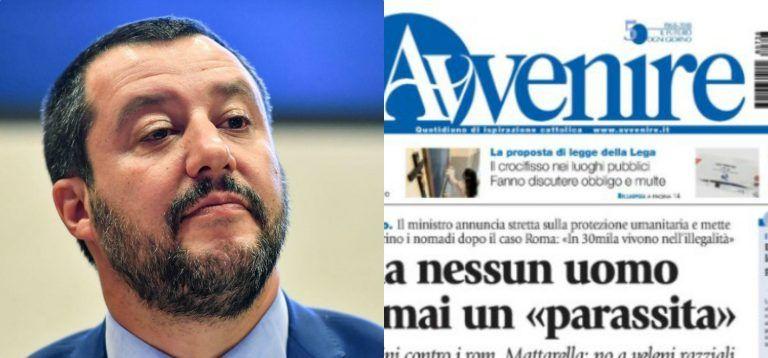 Dopo Famiglia Cristiana anche l'Avvenire contro Salvini e volano insulti