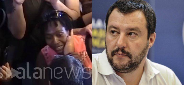 Polemica su Salvini per il selfie al funerale, ma la foto della carezza alla nera non gira