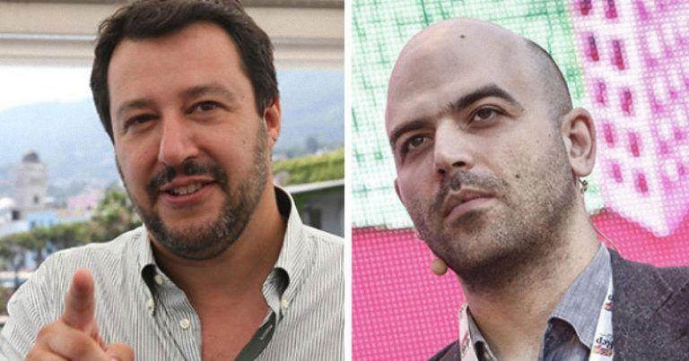 Roberto Saviano 'in galera' sotto la casa di Matteo Salvini – FOTO