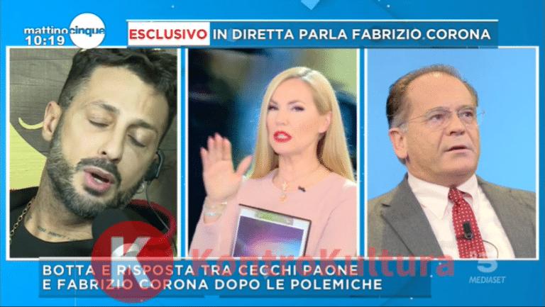 Federica Panicucci in grande difficoltà, scoppia la lite tra Corona e Cecchi Paone che le chiede di prendere posizione