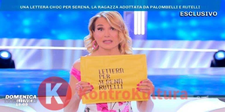 Barbara D'Urso a Domenica Live legge la lettera del padre biologico di Serena Rutelli? (Foto)