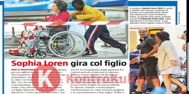 Sophia Loren pizzicata a Bari in sedia a rotelle in compagnia di un giovane ragazzo