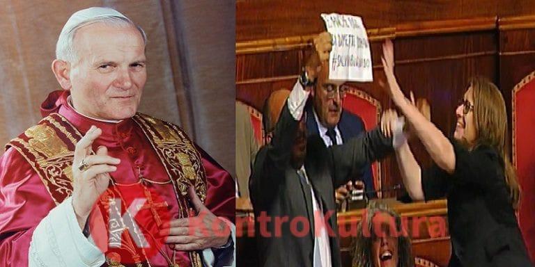 Giovanni Paolo II fa arrabbiare il PD al Senato