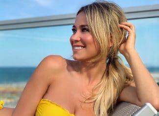 Diletta Leotta in bikini giallo prende il sole sul lettino