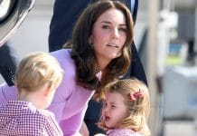 Principessa Charlotte con mamma Kate Middleton e George