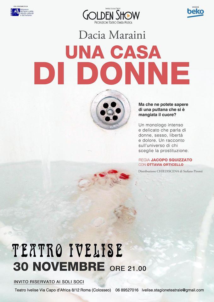 """""""Una casa di donne"""" di Dacia Maraini va in scena sabato 30 Novembre al teatro Ivelise"""