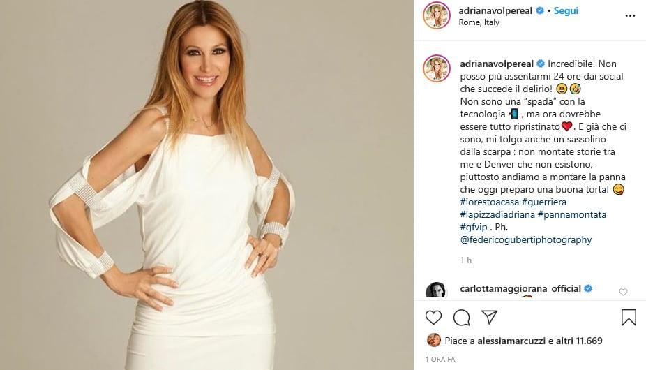 Adriana Volpe chiarisce una volta per tutte il gossip che la