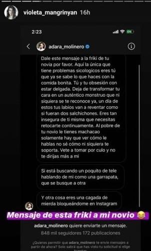 Adara Molinero contro Violeta Mangrinan, pubblicati i messag
