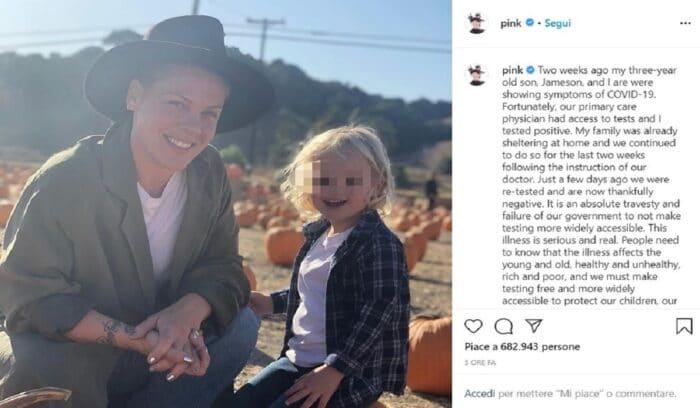 """Pink su Instagram, """"Io e mio figlio positivi al Coronavirus."""
