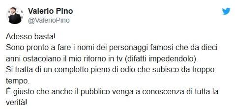 Valerio Pino: 'Io vittima di un complotto, farò nomi e cogno