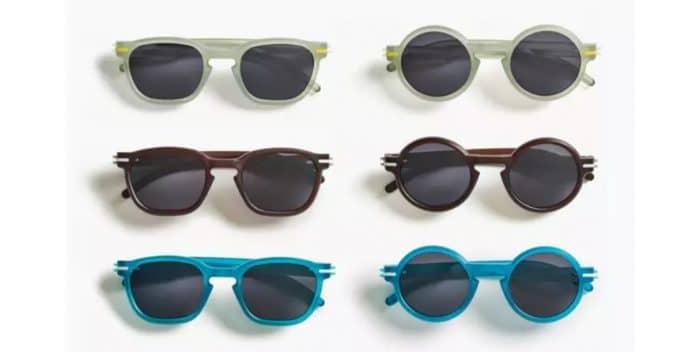 occhiali da sole con bottiglie di plastica riciclate
