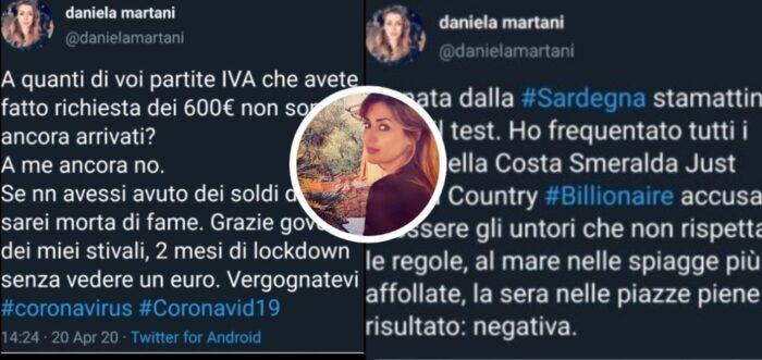Sfogo di Daniela Martani su Twitter