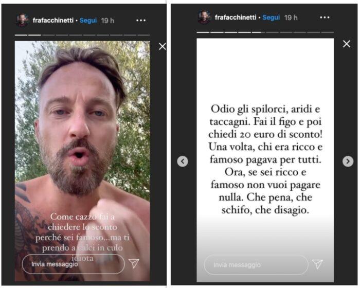 Sfogo di Francesco Facchinetti su IG