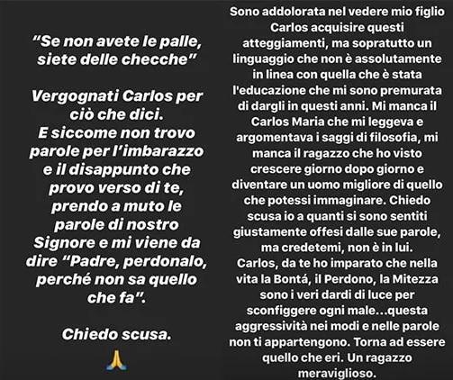 Post Nina Moric per Carlos