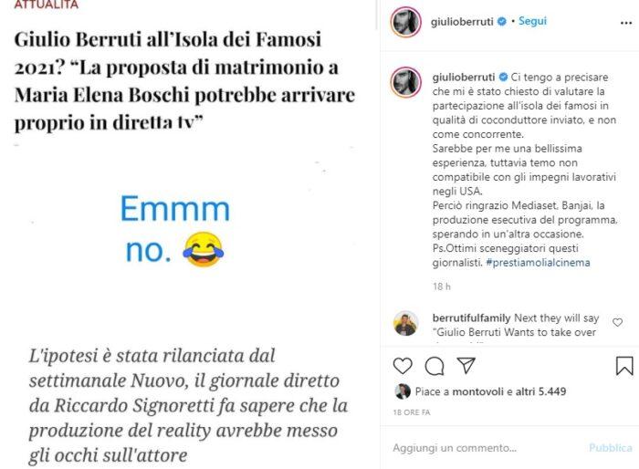 L'Isola dei Famosi: contattato Giulio Berruti ma non come naufrago, l'attore: 'Ottimi sceneggiatori questi giornalisti'