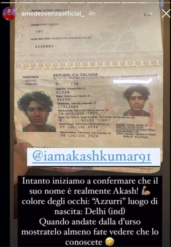 Passaporto di Akash Kumar