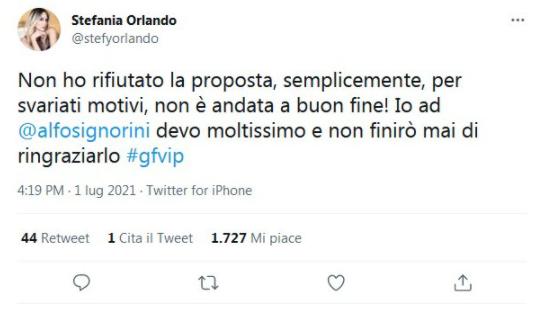 Tweet di Stefania Orlando