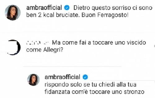 Botta e risposta social tra Ambra Angiolini e hater