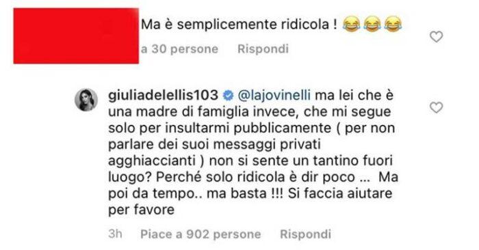 Botta e risposta social tra follower e Giulia De Lellis