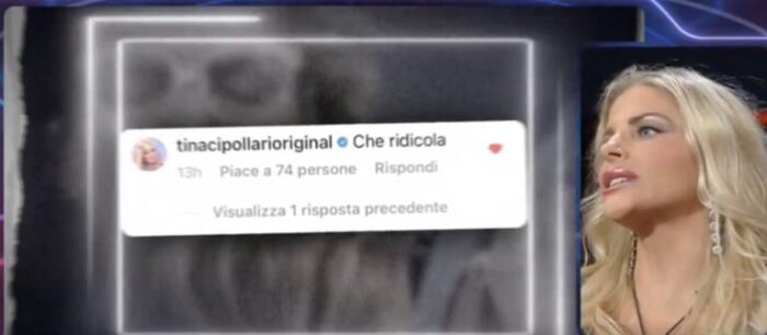 Commento di Tina Cipollari su Instagram