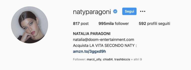 Profilo Instagram di Natalia Paragoni